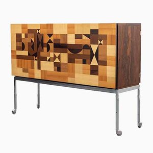 Rosewood Bar Table with Inlays, 1960s