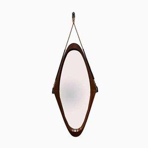 Specchio in teak e corda, Italia, anni '60