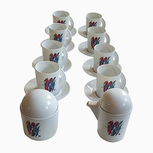 Alphabet Letter W Coffee Set by Marcello Morandini for Rosenthal, 1989, Set of 10