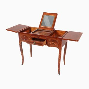 Antique French Louis XV Style Plum Wood Dressing Table with Marquetry, 1890