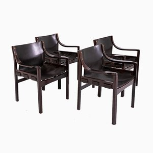 Leather Chairs by Vittorio Gregotti, 1970s, Set of 4