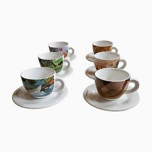 Juego de café Mid-Century de porcelana de Chateau Valmont. Juego de 6