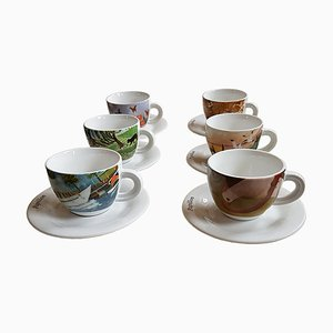 Mid-Century Porcelain Coffee Set from Chateau Valmont, Set of 6