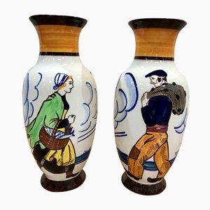HB Quimper Vases by Kervella, 1940s, Set of 2