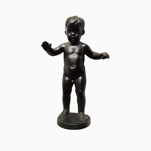 Vintage Russian Kasli Cast Iron Sculpture of a Boy