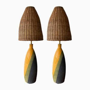 Italian Ceramic Table Lamps by Ettore Sottsass for Bitossi, 1960s, Set of 2