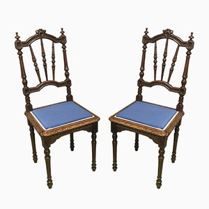 Vintage Chestnut Breton Dining Chairs, Early 20th Century, Set of 2