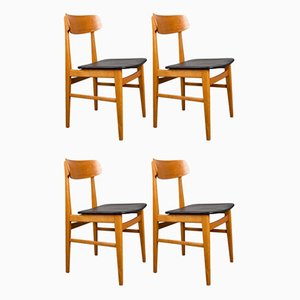 Swedish Beech Wood & Leatherette Side Chairs by Ulferts Tibro, 1960s, Set of 4