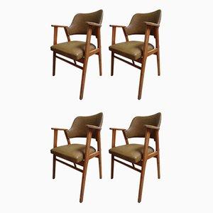 Birke & Kunstleder Esszimmerstühle von Cees Braakman für USM Pastoe, 1950er, Set of 4