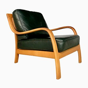 Danish Bentwood & Leather Lounge Chair from Komfort, 1970s