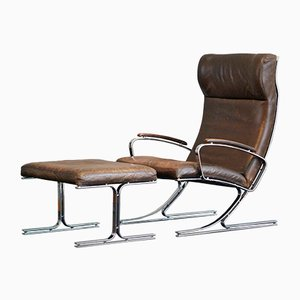 Mid-Century Leather Berlin Easy Chair by Meinhard von Gerkan for Walter Knoll / Wilhelm Knoll