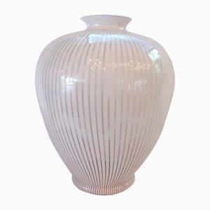 Vase Amphora en Verre de Murano Blanc et Rose de Franco Valmarana, 1970s