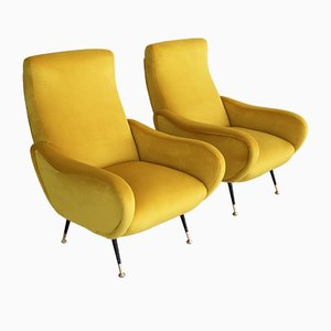 Vintage Italian Velvet Lounge Chairs with Brass Feet, 1950s, Set of 2