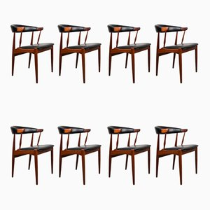 Danish Teak & Leatherette Side Chairs by Johannes Andersen for Bröderna Andersson, 1964, Set of 8