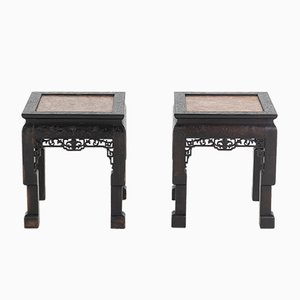 Chinese Hardwood & Marble Side Tables, Set of 2