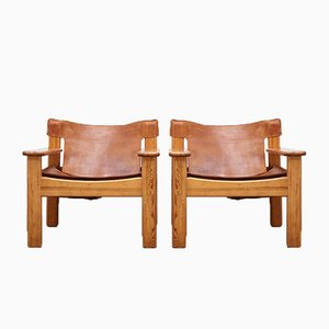 Leather & Pine Natura Lounge Chairs by Karin Mobring for Ikea, 1970s, Set of 2