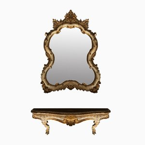Florentine Gilded Mirror & Console, 1950s, Set of 2
