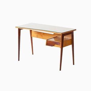 Italian Mahogany, Oak & Glass Desk, 1950s