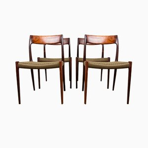 Danish Rosewood 77 Dining Chairs by Niels Otto Møller for J.L. Møllers, 1960s, Set of 4