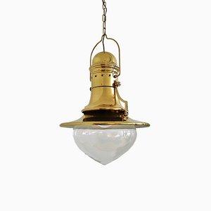 Italian Nautical Style Brass & Murano Glass Pendant Lamp, 1970s