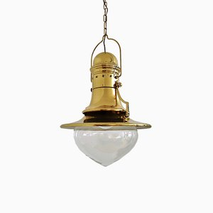 Lampe à Suspension Style Nautique en Laiton & Verre Murano, Italie, 1970s