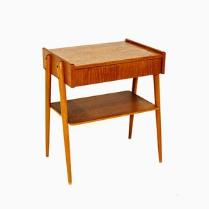 Swedish Teak & Beech Wood Nightstand from Carlström & Co Möbelfabrik, 1960s