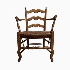 French Rustic Beech Wood & Wicker Armchair, 1800s