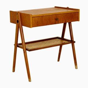 Swedish Teak & Beech Wood Nightstand, 1950s