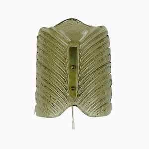 Mid-Century Frosted Glass & Brass Sconce