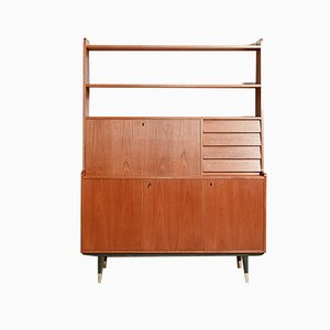 Swedish Teak Secretaire with Folding Table, 1950s