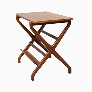Scandinavian Mahogany & Beech Side Table with Magazine Holder, 1960s