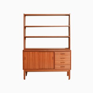 Scandinavian Teak Bookcase with Pull-Out Top, 1950s