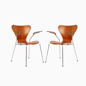 Modell 3207 Teak Stühle von Arne Jacobsen für Fritz Hansen, 1958, 2er Set
