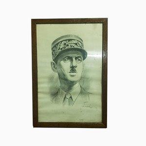 Stampa Rob Cadoré, ritratto del generale de Gaulle, serigrafia, 1944