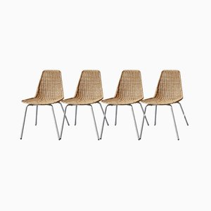 Mid-Century Wicker Chairs, Set of 4