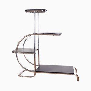 Bauhaus Chrome Tubular Shelving Display Unit by Emile Guyot, 1940s