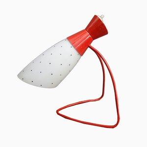 Tischlampe aus rotem Metall & weißem Glas 1621 von Josef Hurka für Napako, 1960er
