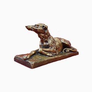 Sculpture Antique Art Déco, Petit Chien Lévrier, 20ème Siècle, Bronze
