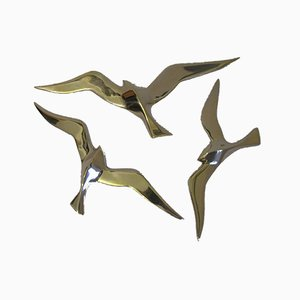 Vintage Brass Bird Wall Decoration, Set of 3