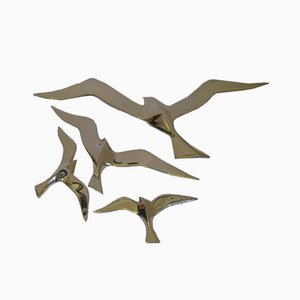 Vintage Brass Bird Wall Decoration, Set of 4
