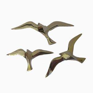 Vintage Vogel Wanddekoration aus Messing, 3er Set