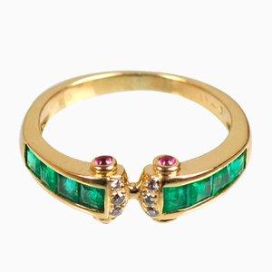 18K Gold, Sapphire, Emerald & Diamond Ring, 1990s