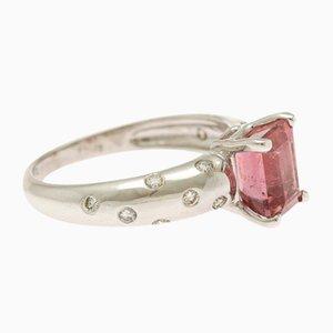 Diamantring in Smaragdschliff mit pinkem Turmalin & Brillantschliff, 1990er