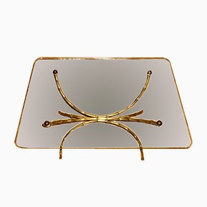 Italian Art Deco Brass & Glass Side Table, 1950s