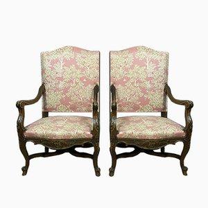 Louis XV Walnut Lounge Chairs, 1850s, Set of 2