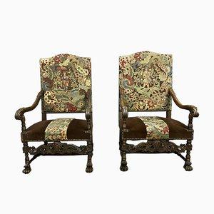Louis XIII Walnut Lounge Chairs, 1830s, Set of 2