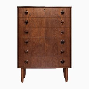 Mid-Century Danish Chest of 6 Drawers in Teak with Bowed Front