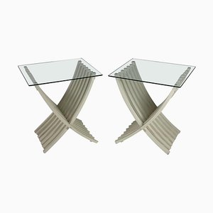 Mid-Century Italian White Lacquered Folding Tables, Set of 2