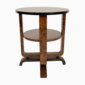 Italian Art Deco Round Side Table with Double Shelf