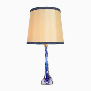 Vintage Blue Crystal Table Lamp from Val Saint Lambert